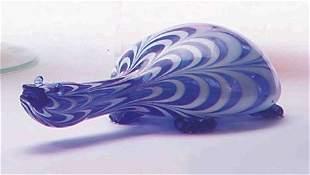 MURANO BLUE & WHITE GLASS TURTLE FIGURE L: 9 1/2