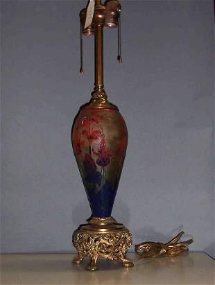 SCHNEIDER ACID-ETCHED ART GLASS LAMP BASE Umber a