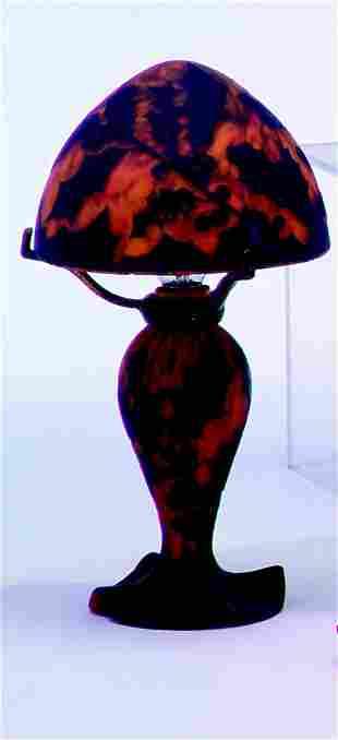 RICHARD ART GLASS MUSHROOM LAMP Deep blue and ora