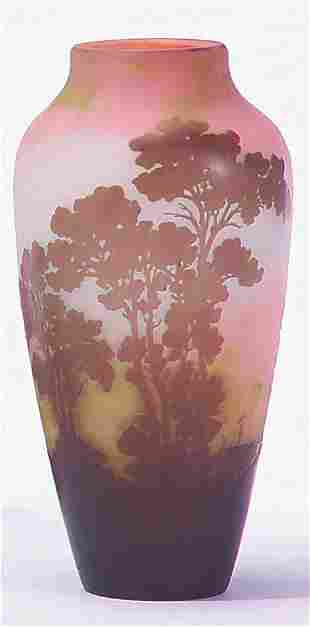 GALLE' BROWN, GREEN & PINK TAPERING VASE Cameo si