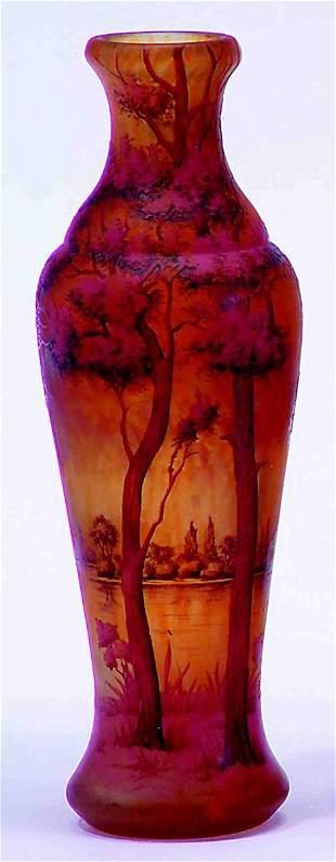 DAUM NANCY GLASS VASE Pink, orange and brown wood