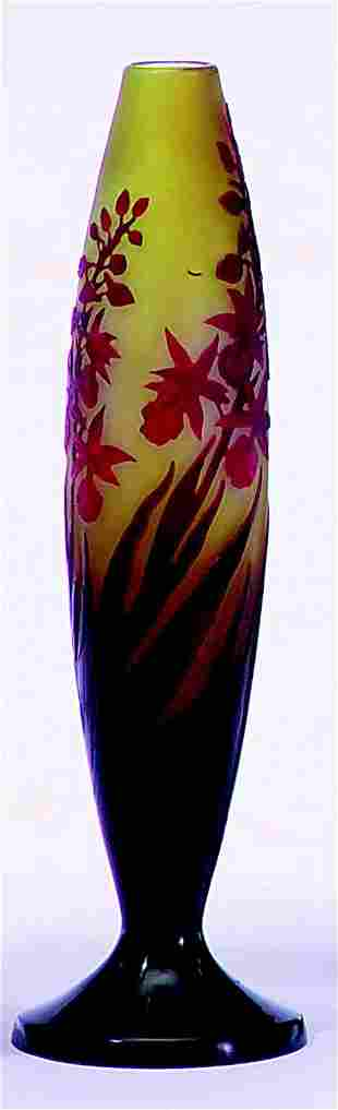 GALLE' RUBY & YELLOW FLORAL TAPERING VASE Signed.