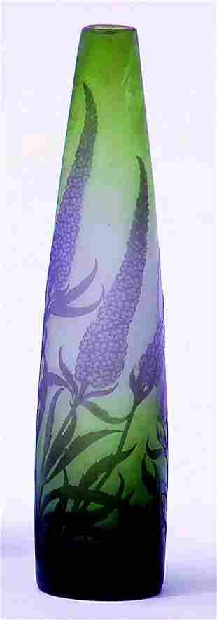 GALLE' PURPLE & GREEN STYLIZED LILAC VASE Cameo s