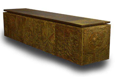 1316: PAUL EVANS SCULPTURED WALNUT CONSOLE Metal, wood,