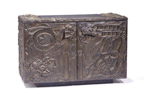 1317: PAUL EVANS SCULPTURED SERVER Metal, wood, composi
