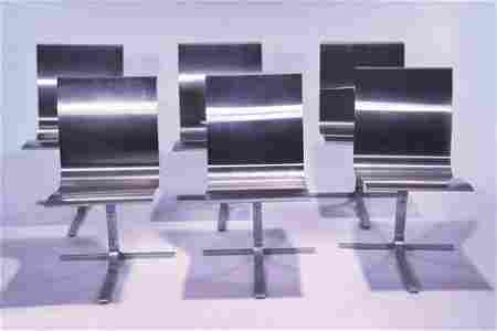 1324: SET OF SIX CONTEMPORARY ALUMINUM SIDE CHAIRS Sing