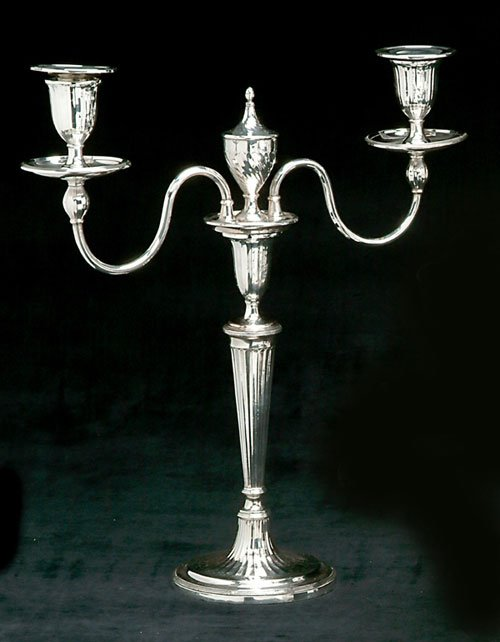254: A PAIR OF ENGLISH SILVER PLATED CANDELAB