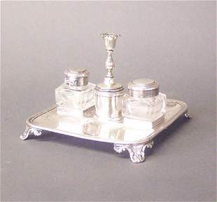 AN ENGLISH SILVER PLATED INKSTAND