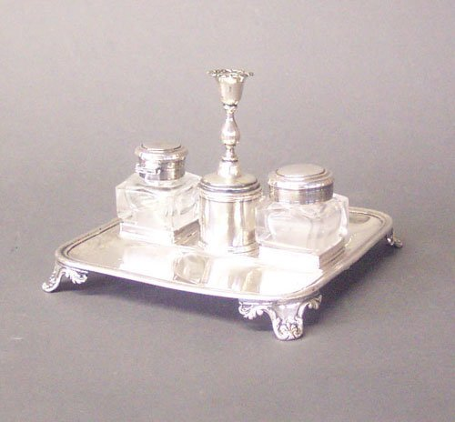 258: AN ENGLISH SILVER PLATED INKSTAND