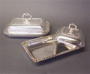 TWO SILVER PLATED COVERED VEGETABLE DISH