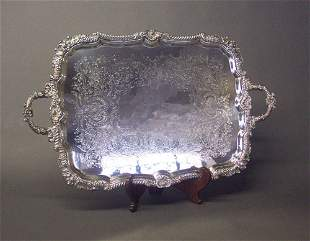AN ENGLISH SILVER PLATED TEA TRAY