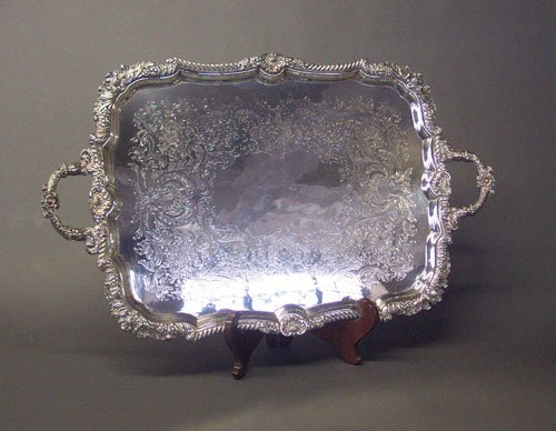 263: AN ENGLISH SILVER PLATED TEA TRAY