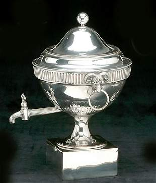 AN ENGLISH SILVER PLATED HOT WATER URN