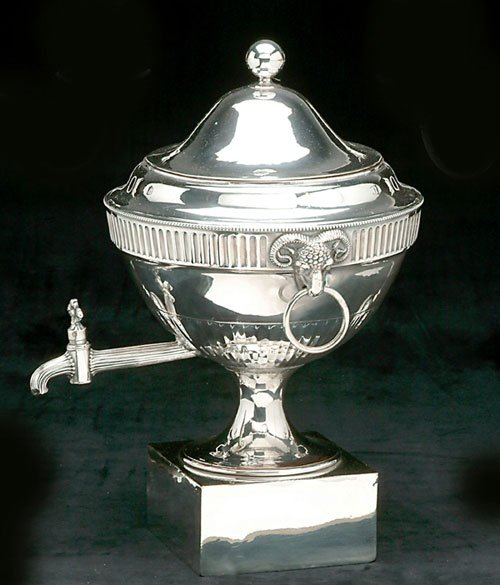270: AN ENGLISH SILVER PLATED HOT WATER URN