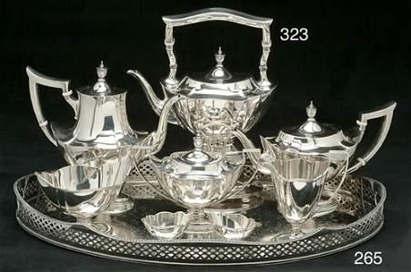 323: A GORHAM SILVER EIGHT-PIECE TEA & COFFEE