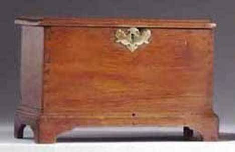 8: CHIPPENDALE MINIATURE WALNUT BLANKET CHEST Pennsylva