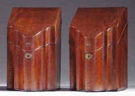 10: PAIR OF FIDDLEBACK MAHOGANY KNIFE BOXES English or