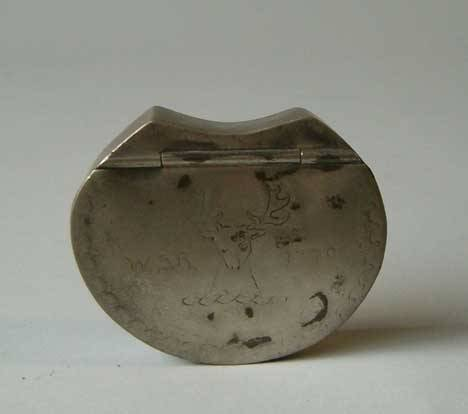 "11: PEWTER KIDNEY-SHAPED TOBACCO BOX Dated 1799"" Having"