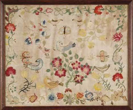 12: CREWEL WORK PANEL Probably Connecticut, late 18th c