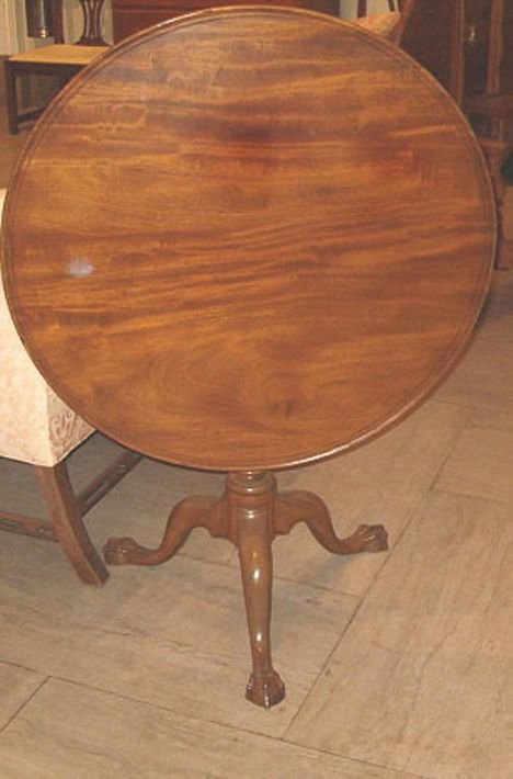 13: CHIPPENDALE MAHOGANY TILT-TOP BIRD CAGE TEA TABLE D