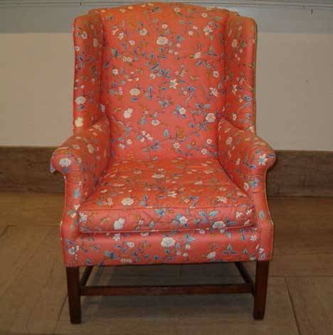 15: MAHOGANY WING BACK ARM CHAIR Late 18th century Slig