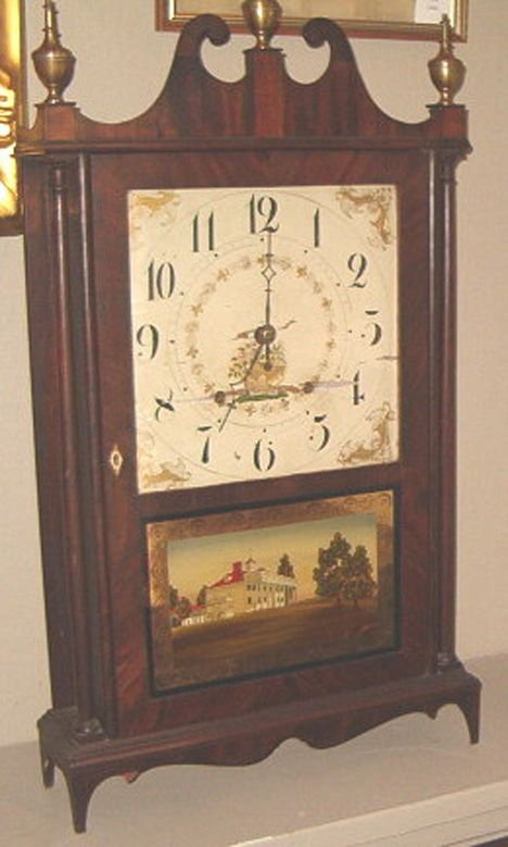 23: FEDERAL MAHOGANY PILLAR AND SCROLL MANTEL CLOCK Set