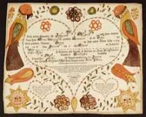 187: PRINTED AND WATERCOLOR FRAKTUR: BIRTH AND BAPTISM