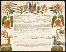 188: PRINTED AND WATERCOLOR FRAKTUR: BIRTH AND BAPTISM