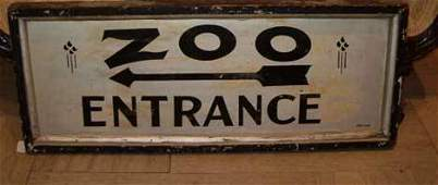 381 PAINTED WOODEN ZOO ENTRANCE SIGN 20th century Rect