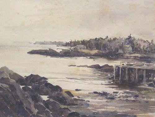 1020A: HARBOR watercolor 14 3/4 x 19 in.