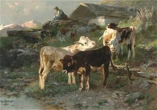ANTON BRAITH (German 1836-1905) CALVES