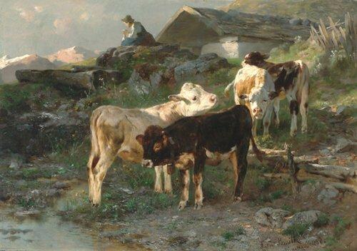 2024: ANTON BRAITH (German 1836-1905) CALVES