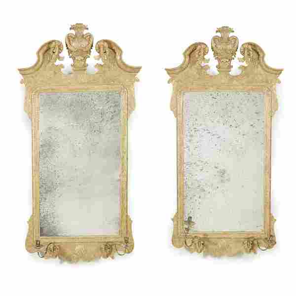 A pair of George I style giltwood mirrors, 19th century