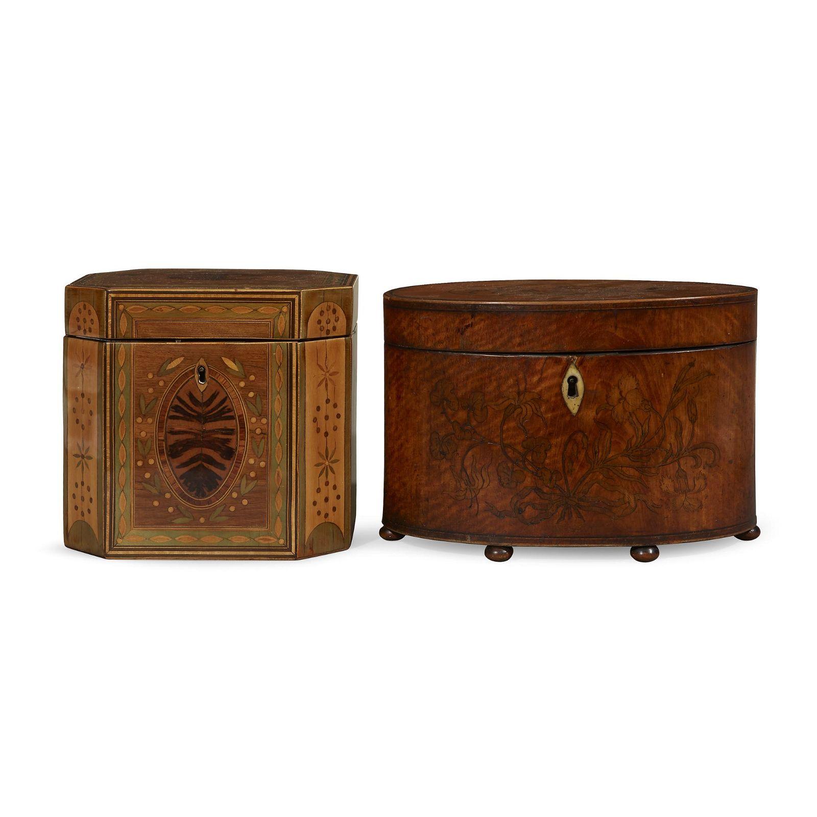 Two George III tea caddies, late 18th century