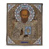 A Russian icon of St Nicholas the Miracleworker with