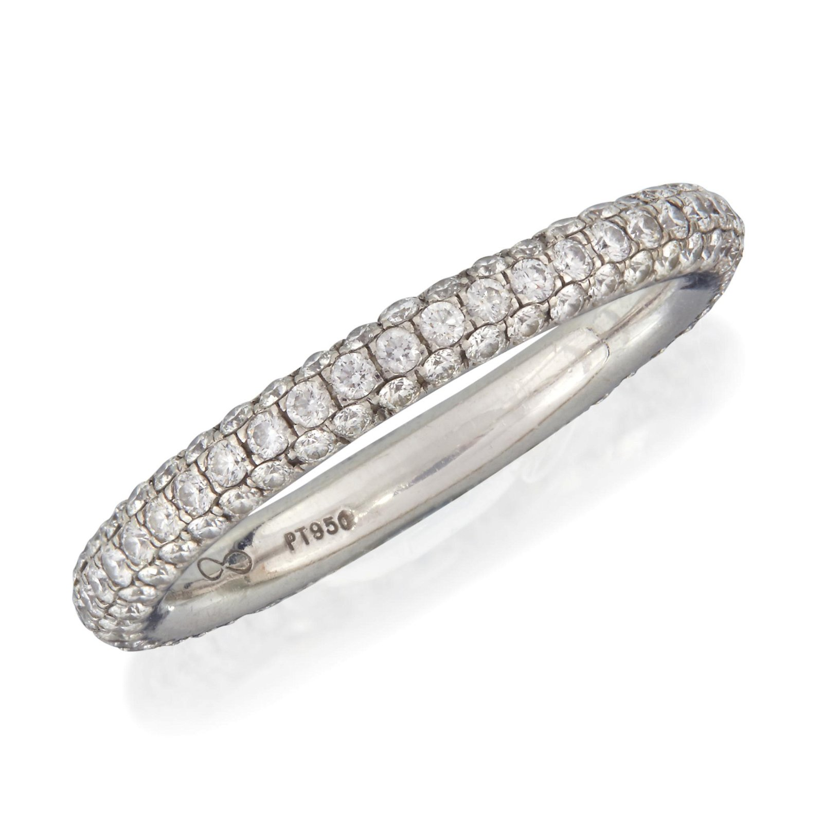 A platinum and diamond eternity band,