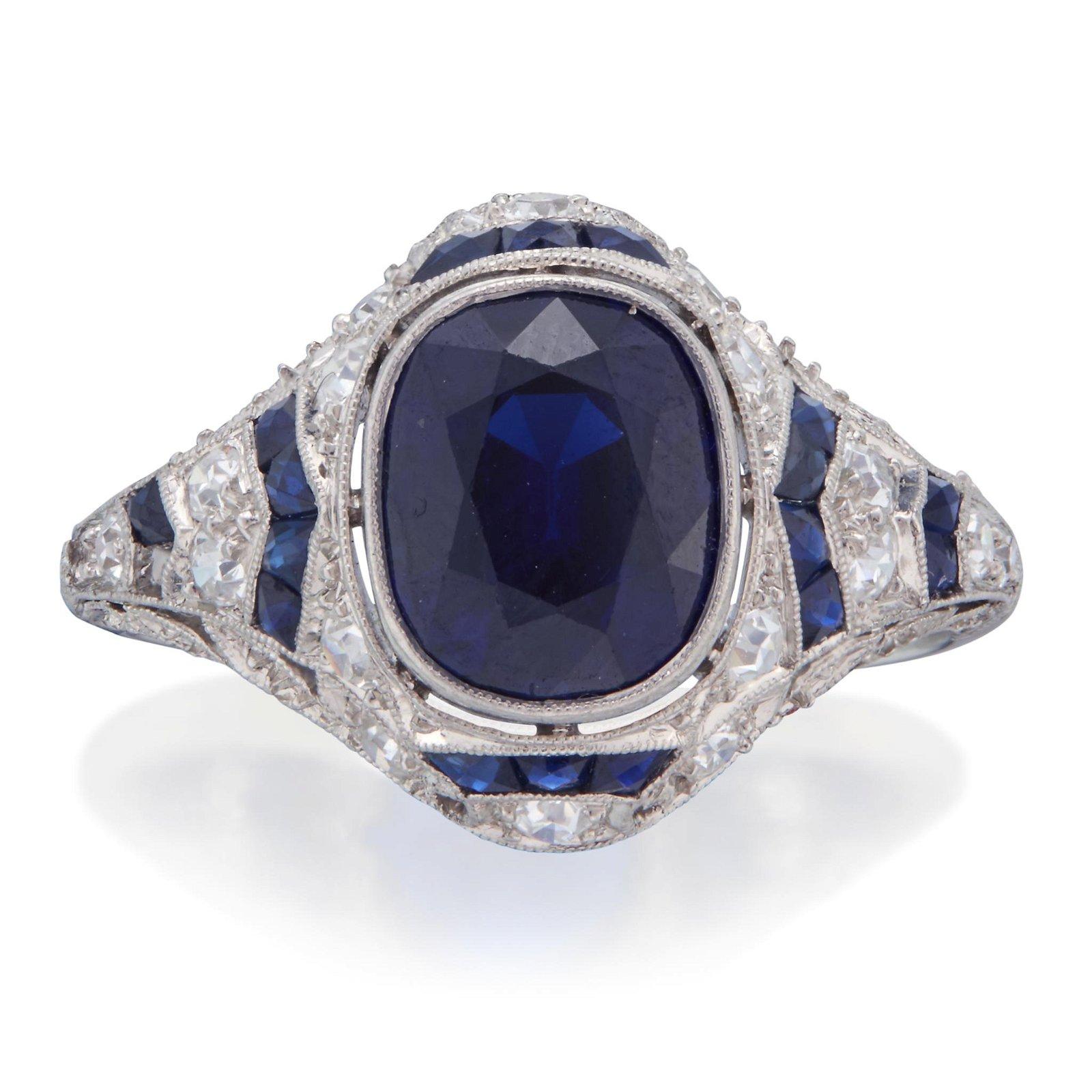 An Art Deco diamond, sapphire, and platinum ring,