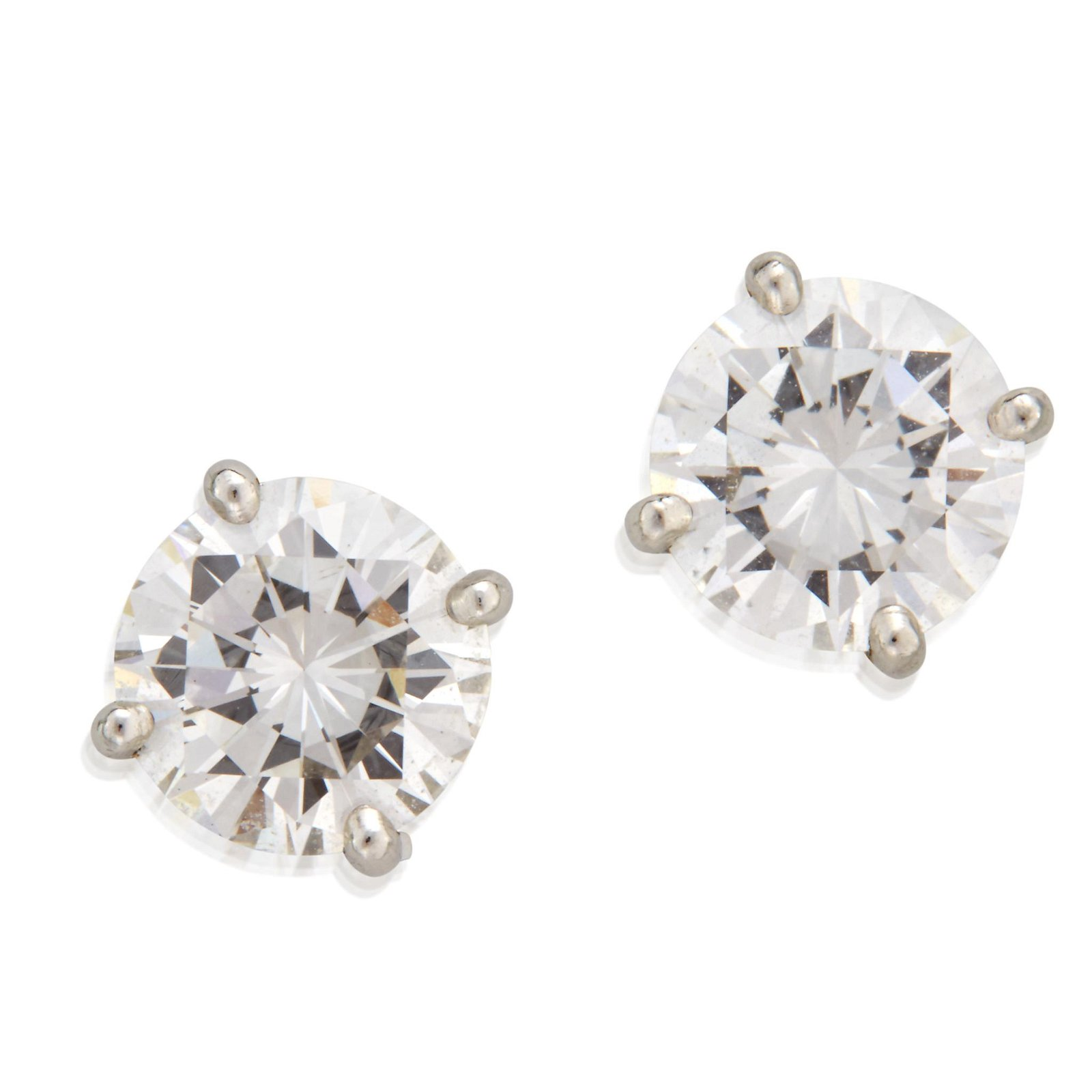 A pair of diamond and fourteen karat gold earrings,