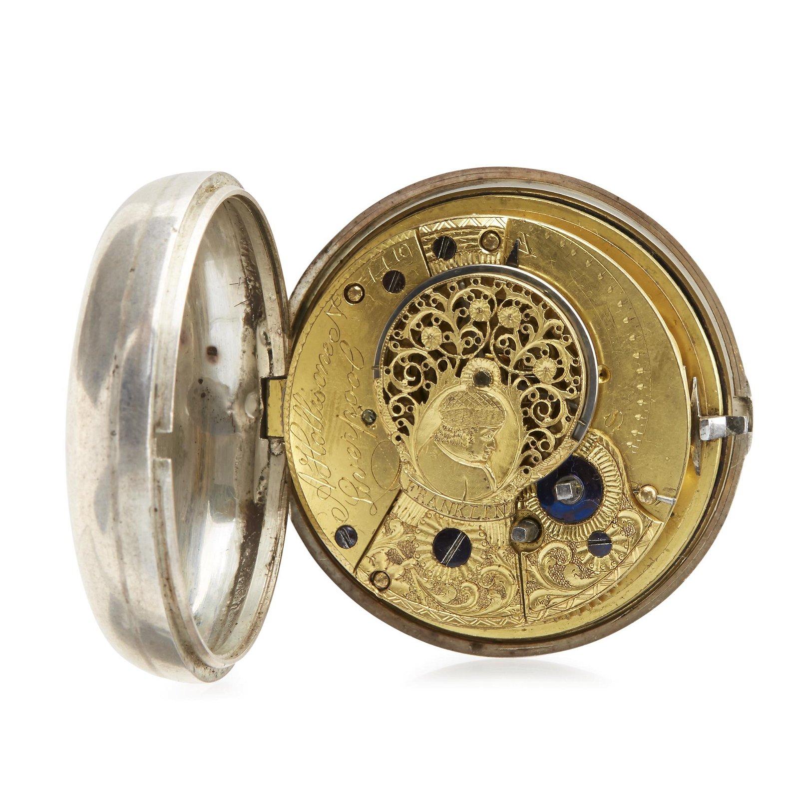 Sterling silver open-face pocket watch, A. Hollisone,