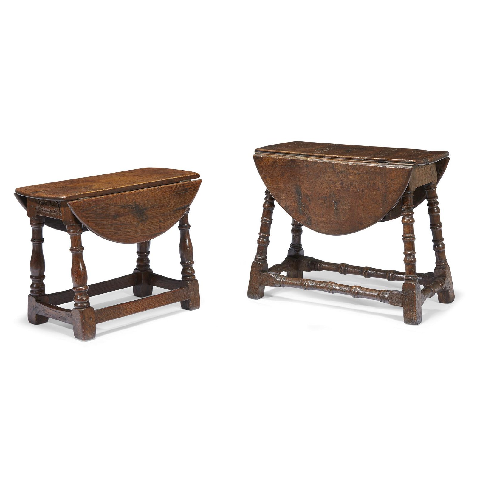 Two William & Mary carved oak joint stools with drop