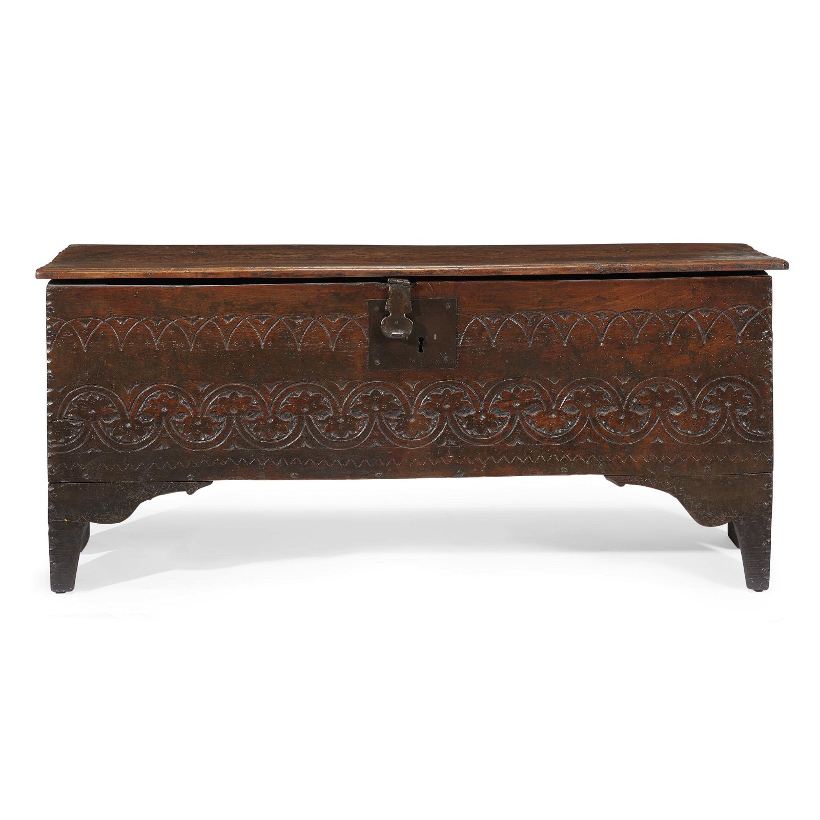 Carved oak coffer, English, late 17th century