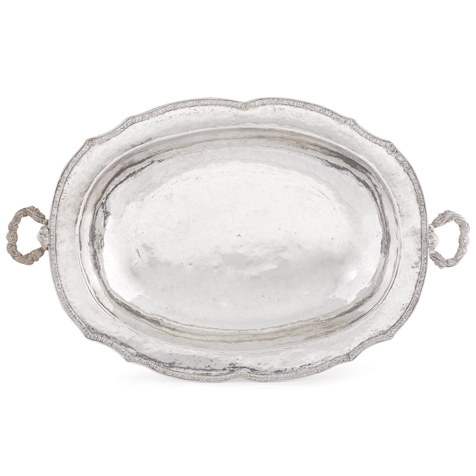 Spanish Colonial silver oblong serving dish, South