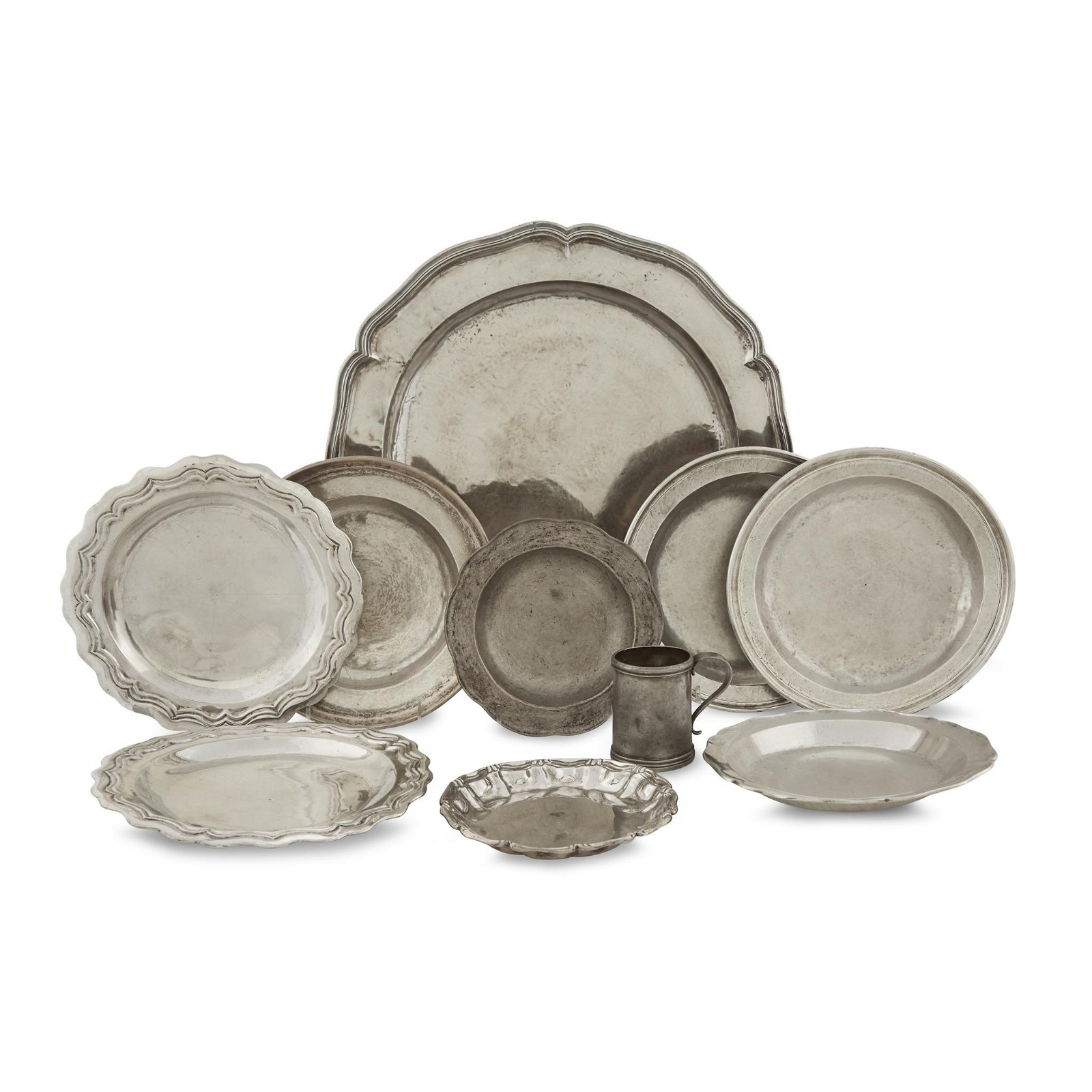 Group of ten Spanish Colonial silver and pewter