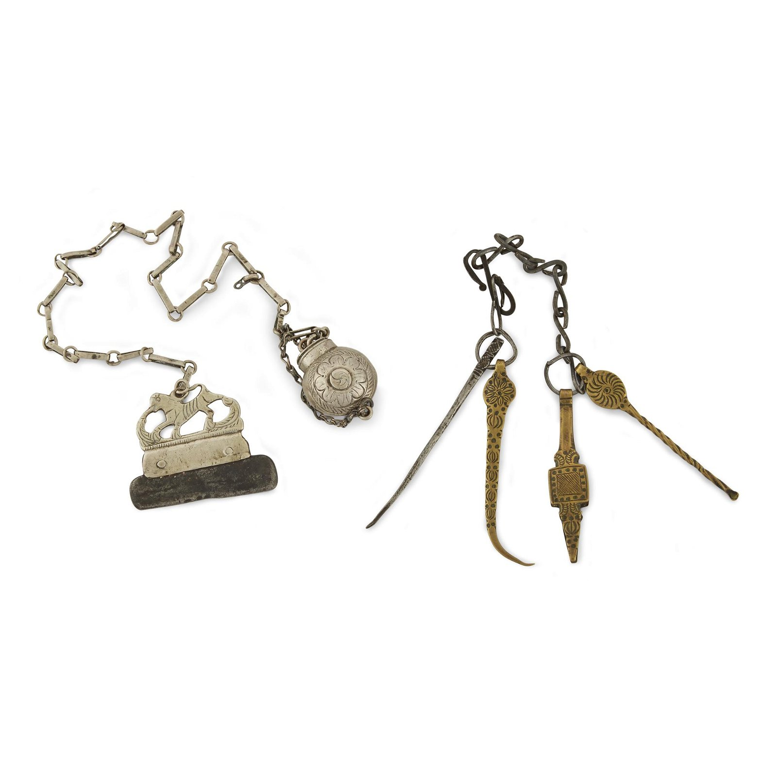 Two silver, brass, and iron chatelaines, Possibly