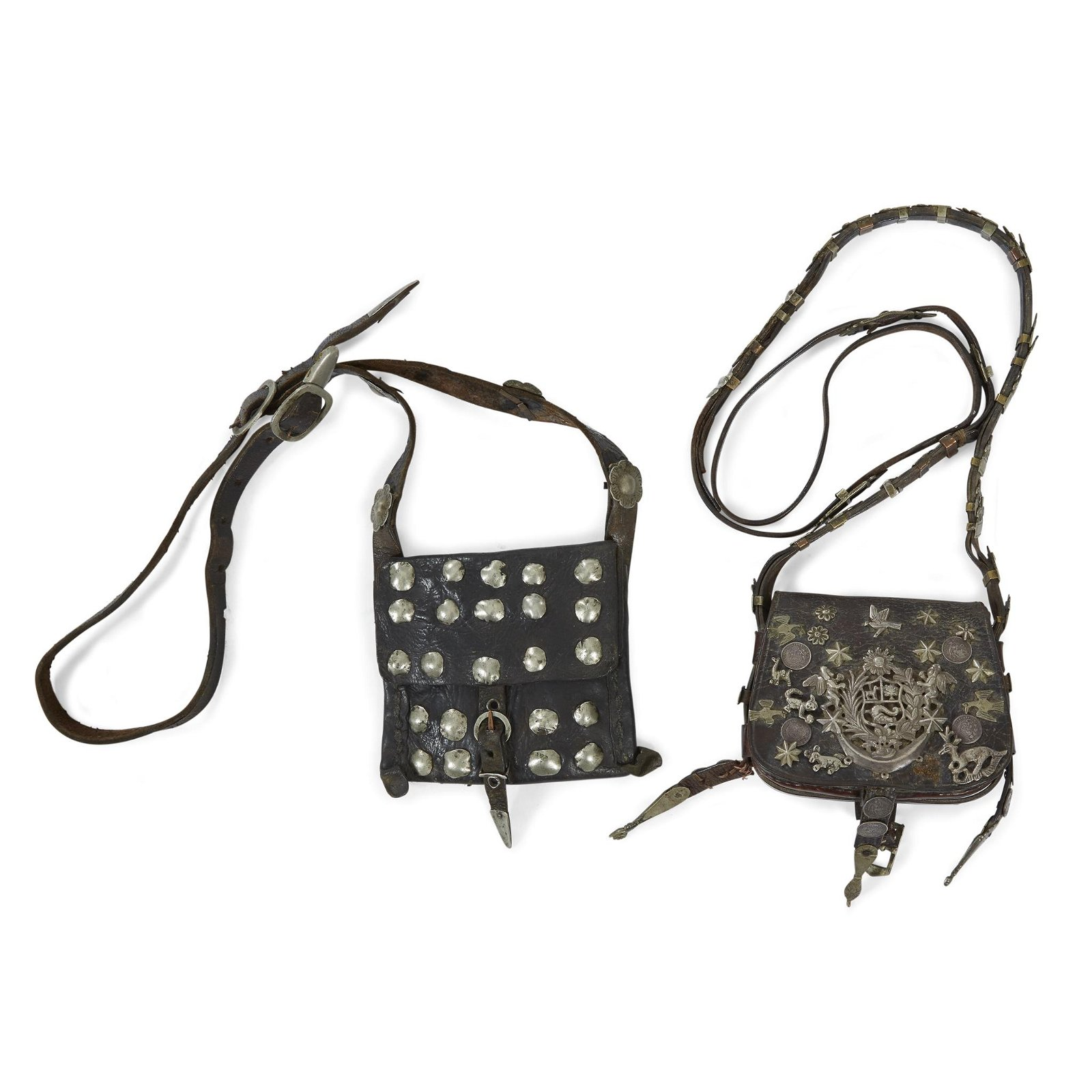 Two leather bags with silver studs and milagros, South