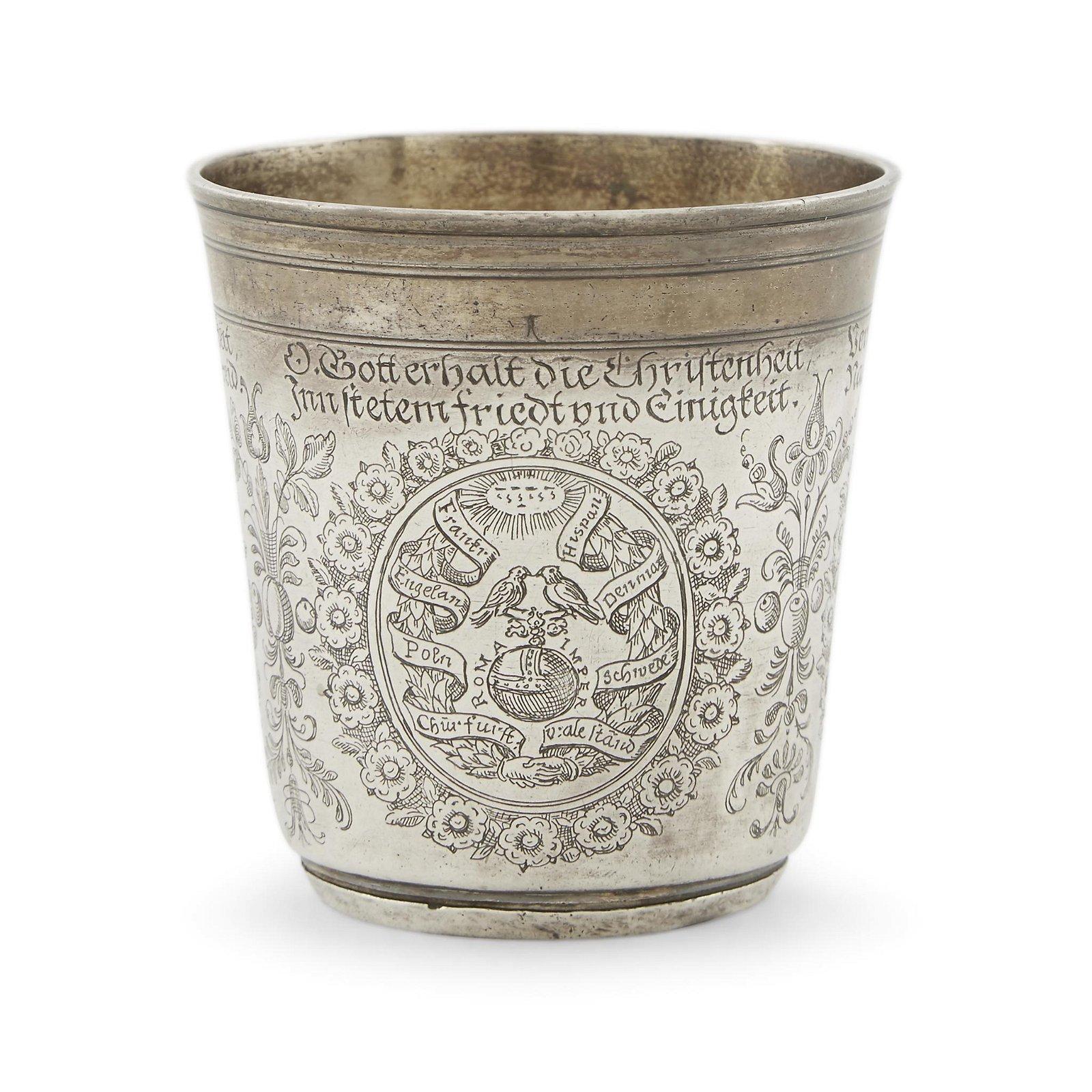German parcel-gilt silver cup of Germantown interest,