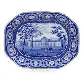 Historical Blue Staffordshire 'Pennsylvania Hospital