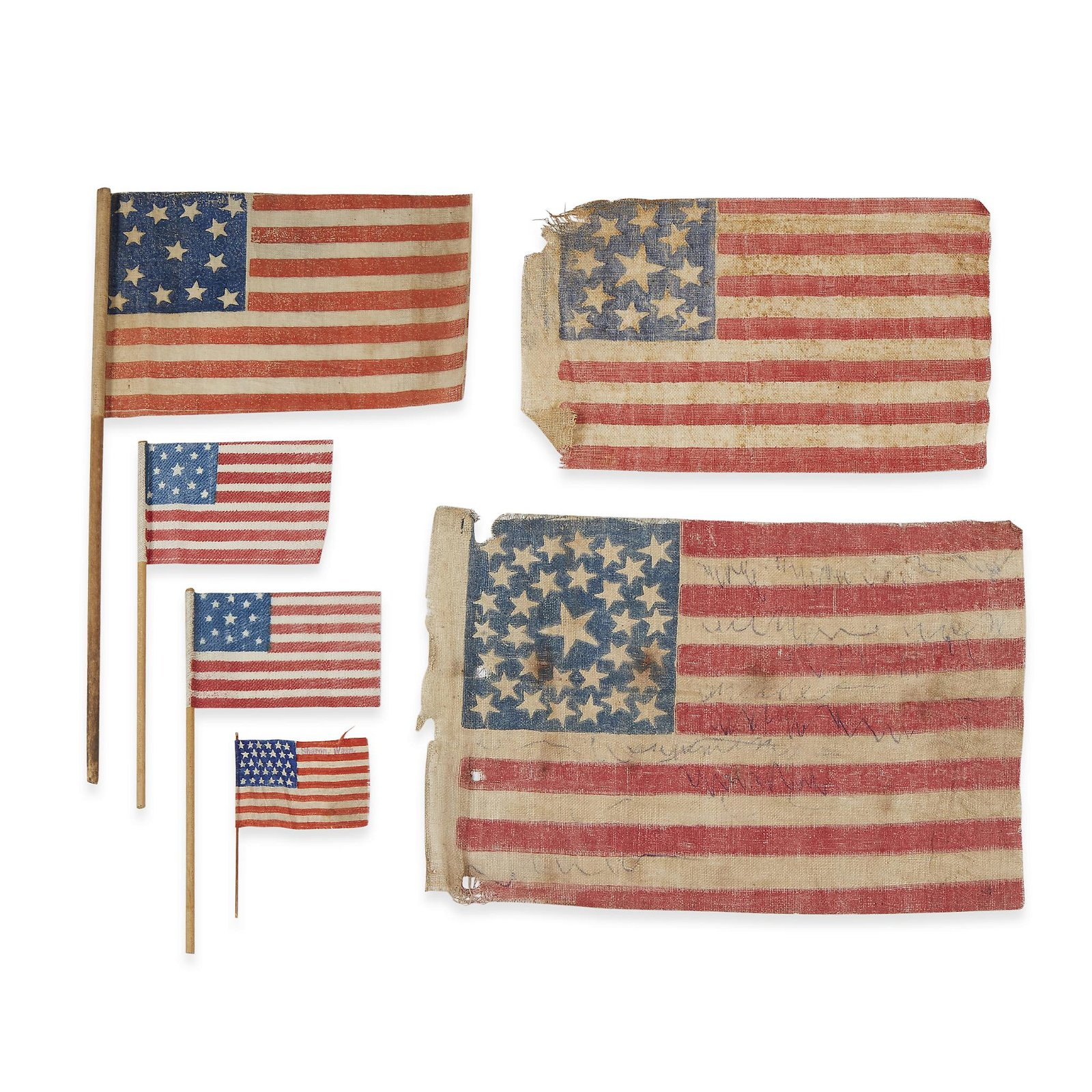 Six American parade Flags, 1860-1900