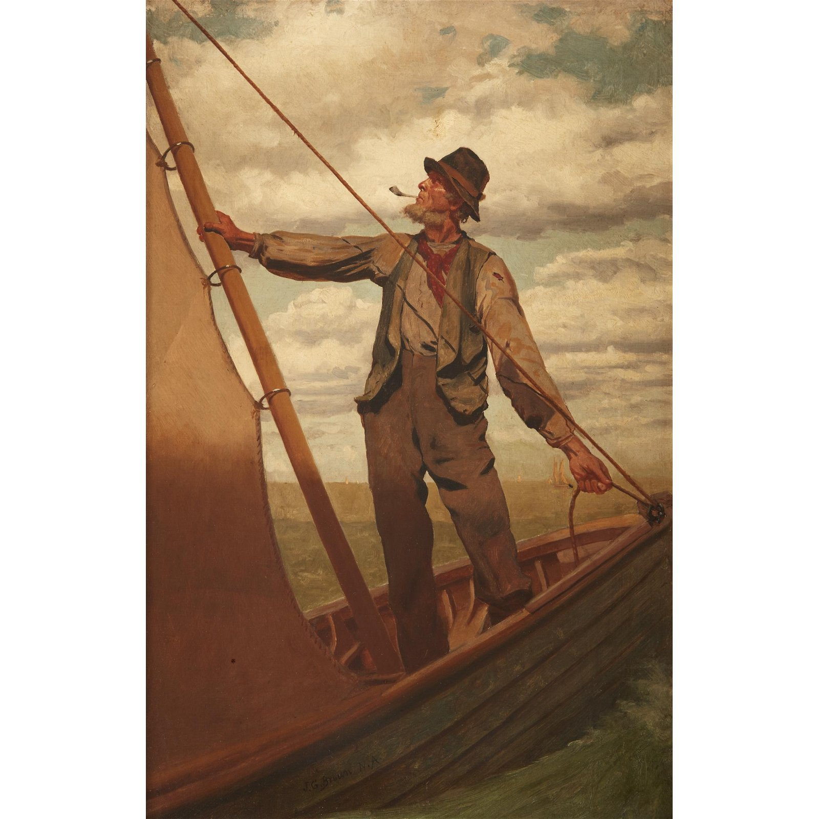 John George Brown (American, 1831-1913), , Hoisting the