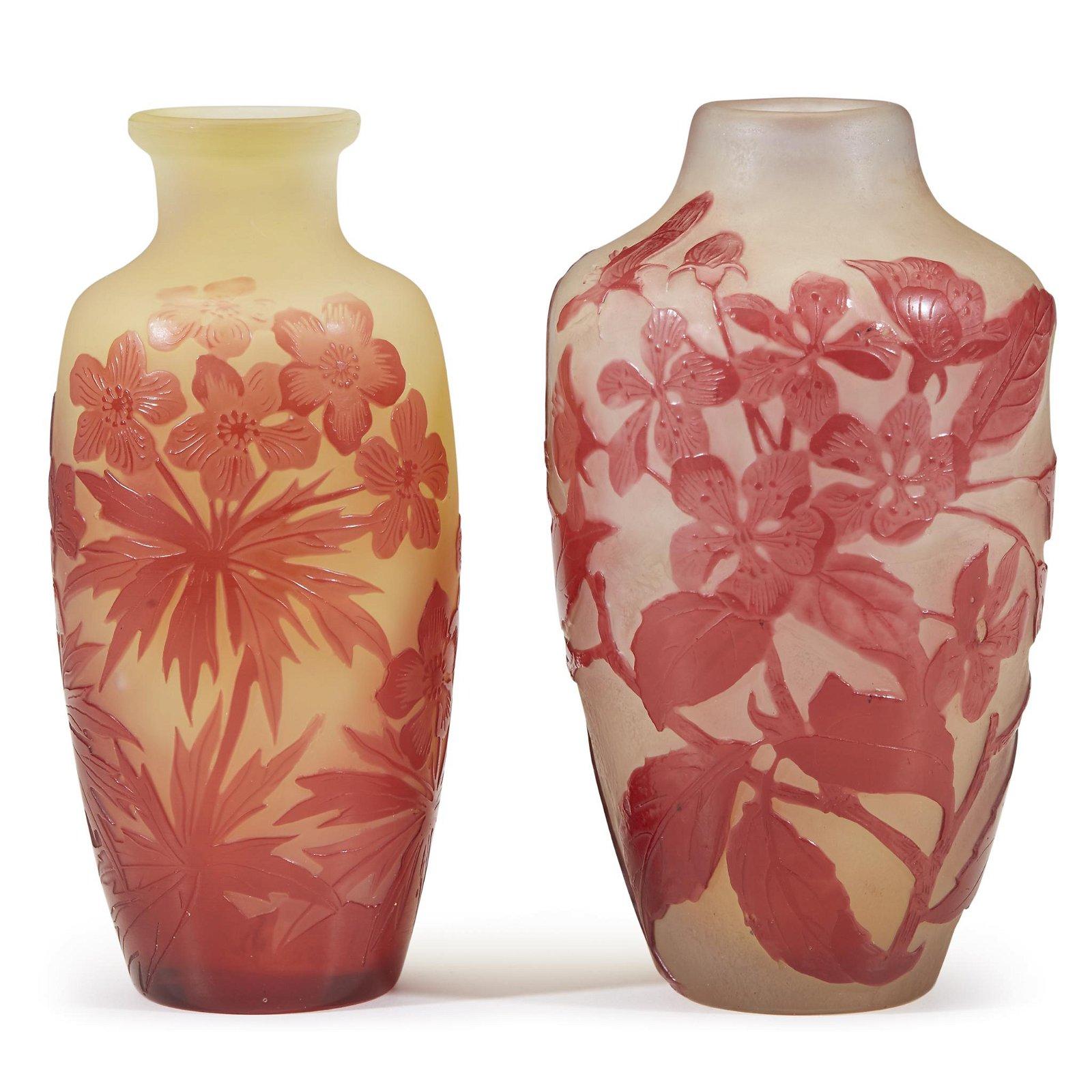 Émile Gallé (French, 1846-1904), Two Floral Vases,